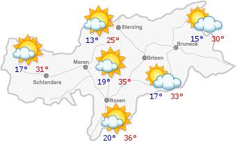 Das Wetter in Südtirol am21.06.2018