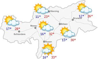 The weather in South Tyrol for the2019-07-20