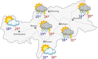 The weather in South Tyrol for the2019-05-20