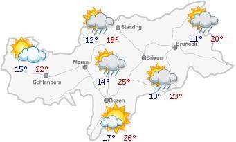 Il tempo in Alto Adige per il27/07/2018