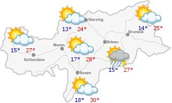 The weather in South Tyrol for the2019-06-17
