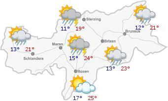 Il tempo in Alto Adige per il